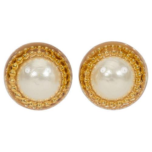 1970s Oversize Chanel Pearl Earrings