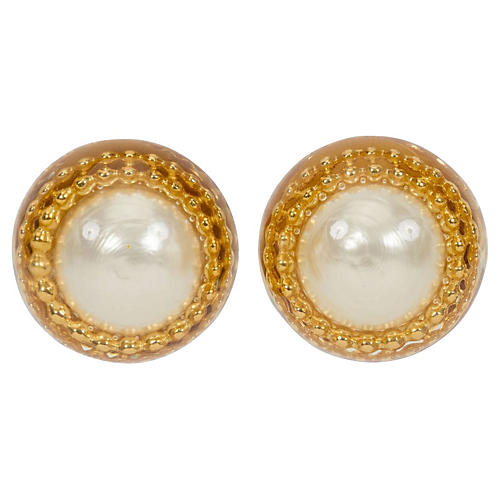1970s Oversize Chanel Pearl Earrings