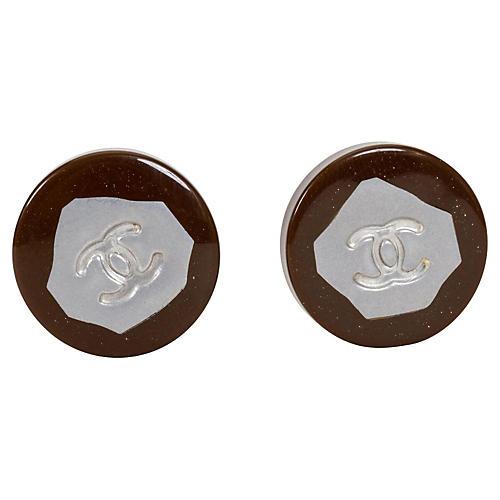 Chanel Brown & Silver Earrings, 1999