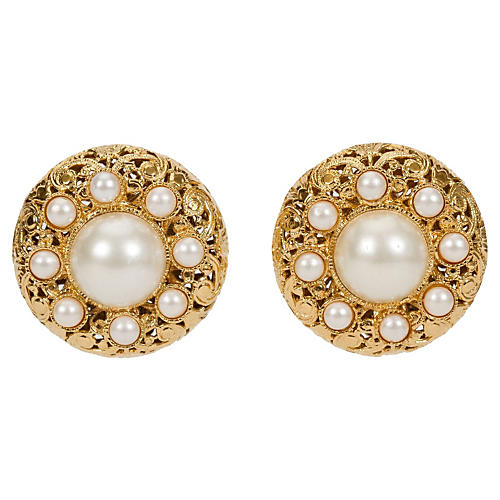 1960s Chanel Filigree Pearl Earrings