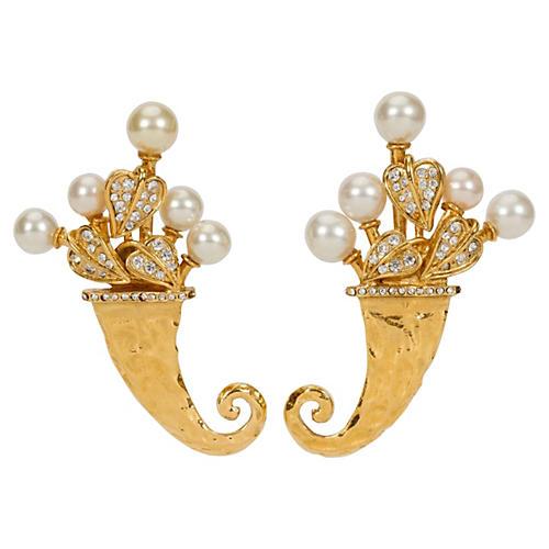 1980s Chanel Unique Cornucopia Earrings
