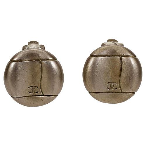 Chanel Satin Silver Logo Earrings, 1998