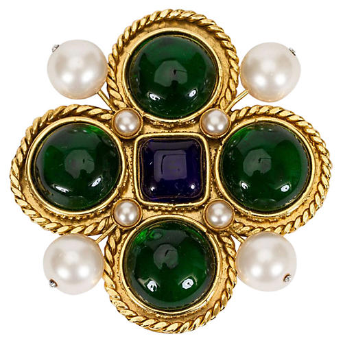 1980s Chanel Maltese Cross Gripoix Pin