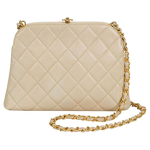 1990s Chanel Beige Quilted Kiss Lock Bag
