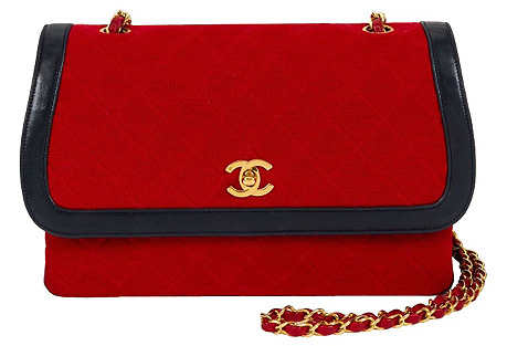 1980s Chanel Navy & Red Flap Bag