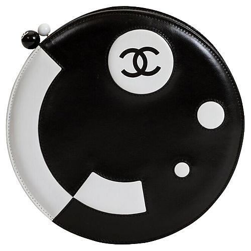 Round Chanel Black & White Bag