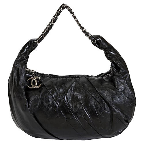 Chanel Pleated Black Croissant Bag