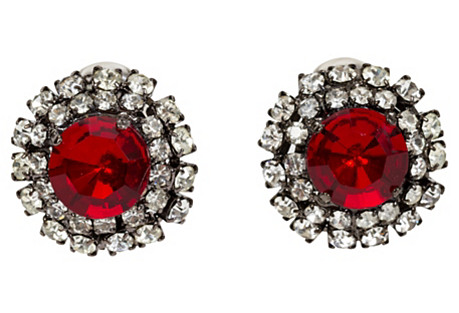 Vrba Ruby Rhinestone Oversize Earrings