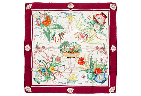 Gucci Silk Twill Floral Red Scarf