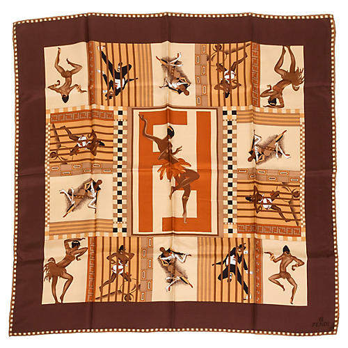 Fendi Brown Silk Scarf