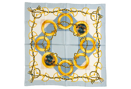 Celine Blue Gold Silk Scarf