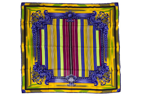 Versace Silk Twill Stripe Scarf