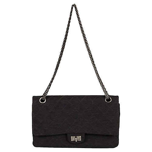 Chanel Gray Jersey Double Flap Bag