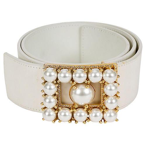 1980s Valentino White Pearl Belt