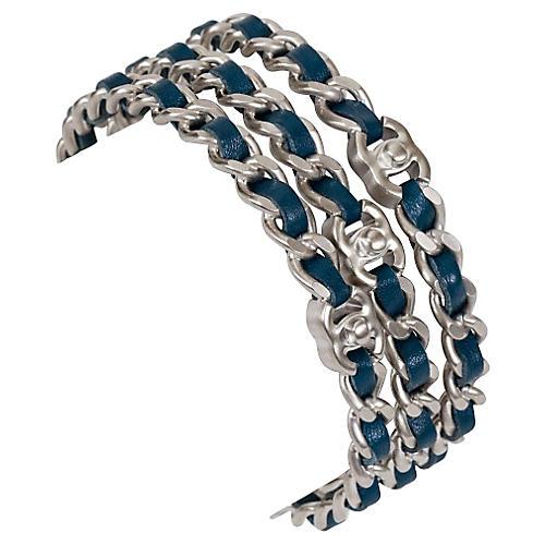 Chanel Silver & Blue Bangles, S/3