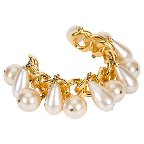 1980s Chanel Pearl Charm Chain Cuff