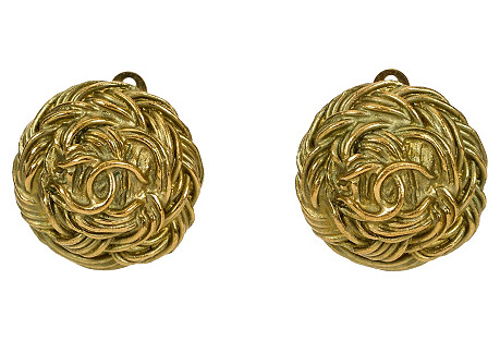 Chanel Satin Gold Braid Earrings, 1995