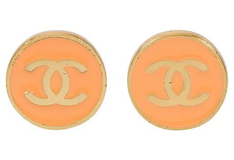 Chanel Salmon Enamel Logo Earrings