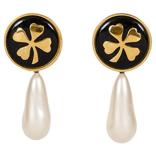 1970s Chanel Clover Drop Pearl Earrings