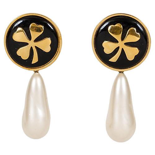 1970s Chanel Clover Drop Pearl Earrings