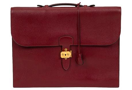 Hermès Burgundy Epsom Briefcase, 1996