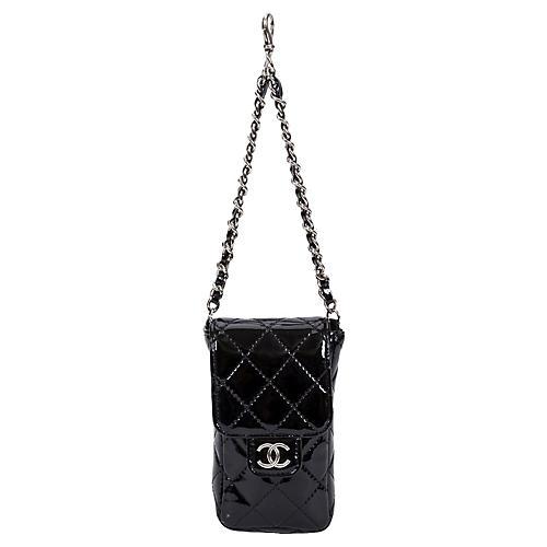 Chanel Black Patent Charm Purse