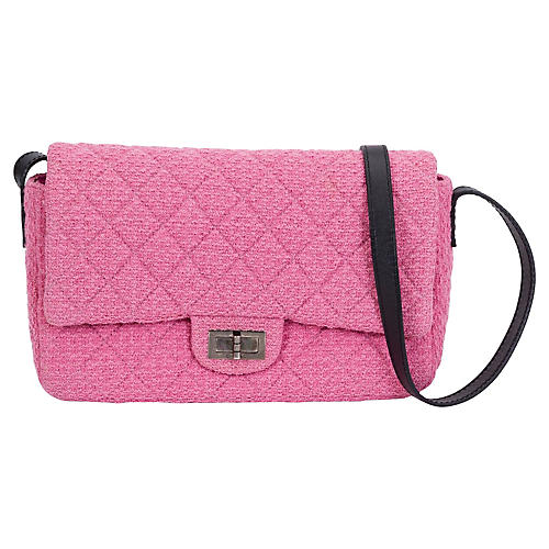 Chanel Pink Tweed Crossbody Flap Bag