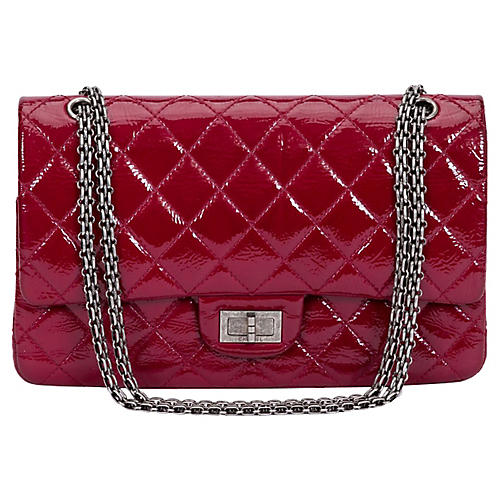 Chanel Burgundy Patent Jumbo Bag