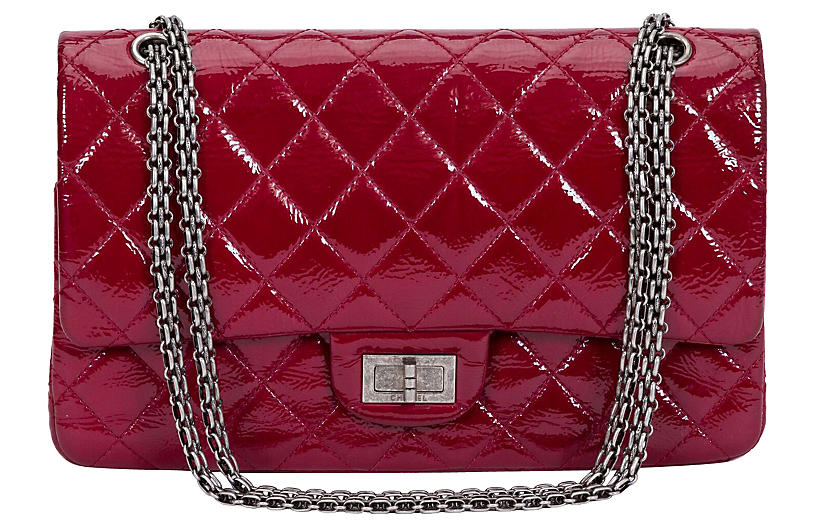 405df3b09917 Chanel Burgundy Patent Jumbo Bag - Vintage Lux - Top Vintage Dealers ...