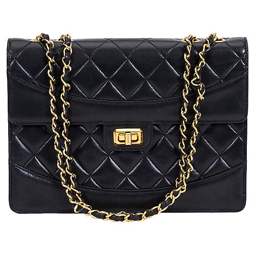Chanel Black Lambskin Turn Lock Bag