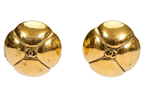1980s Chanel Dome Clover Logo Earrings