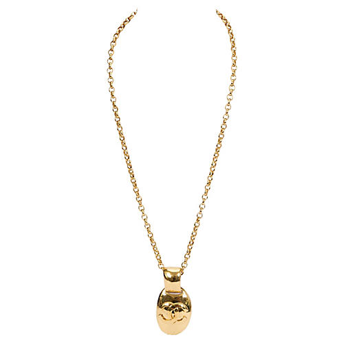 1980s Chanel Oval Logo Necklace