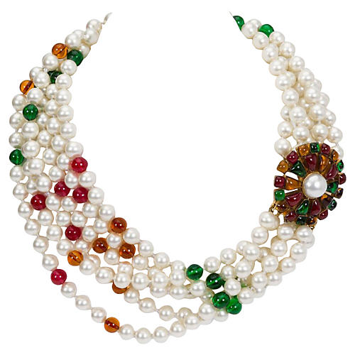 1970s Chanel Pearl & Gripoix Necklace
