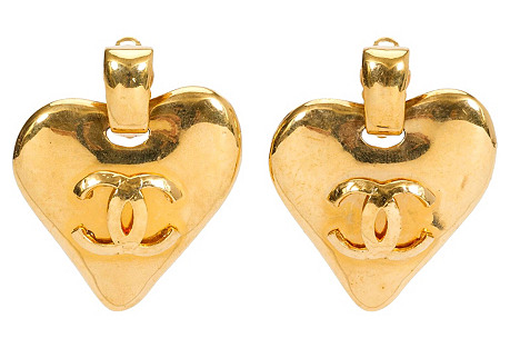Chanel Heart Door Knocker Earrings, 1993