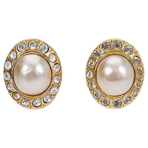 1970s Chanel Pearl & Rhinestone Earrings
