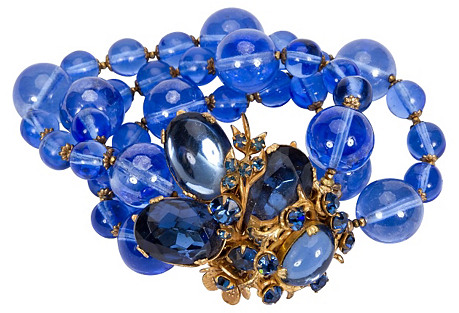 1940s Miriam Haskell Blue Glass Bracelet