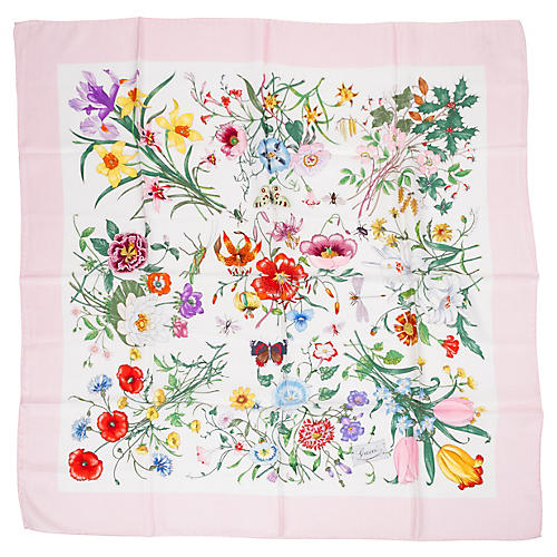 Gucci Pink Botanical Floral Silk Scarf