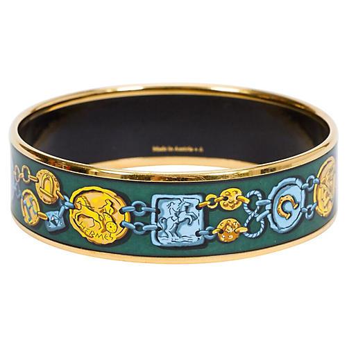Hermès Green Coins Enamel Bracelet