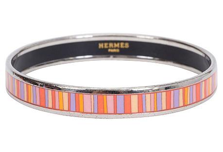 Hermès Narrow Striped Enamel Bangle