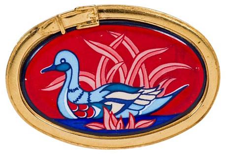 Hermès Red Enamel Blue Swan Pin