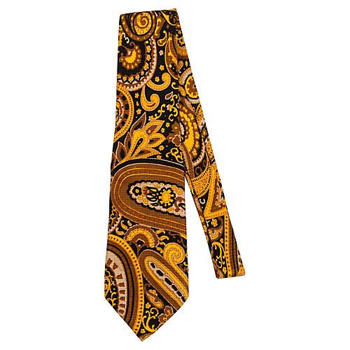 Lanvin 70's Gold Silk Tie