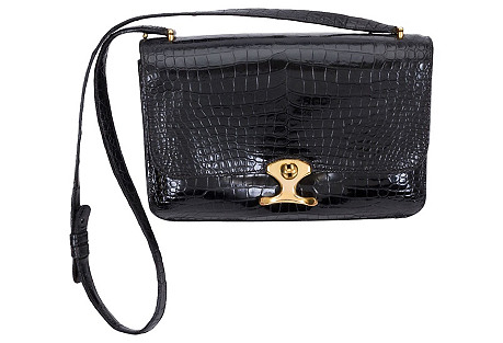 Hermès Black Crocodile Shoulder Bag