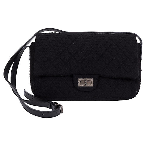Chanel Black Tweed Crossbody Flap Bag