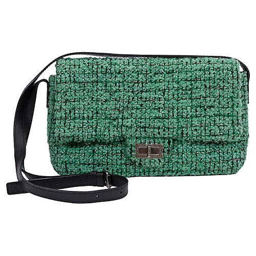 Chanel Green Tweed Crossbody Flap Bag