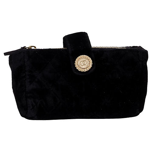 Chanel Black Velvet Coin Pouch