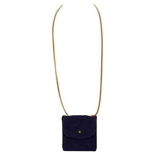 Chanel Navy Coin Purse on Chain