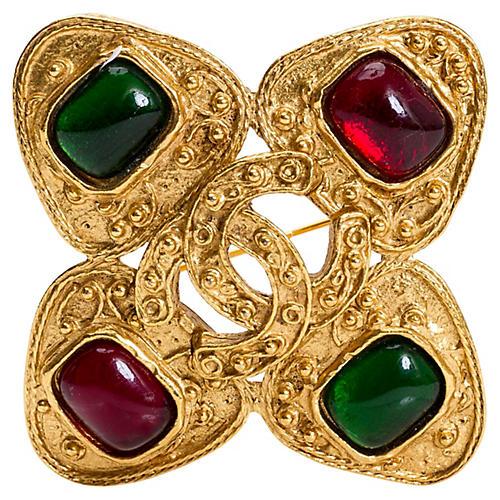 Chanel Gripoix Maltese Cross Pin, 1994