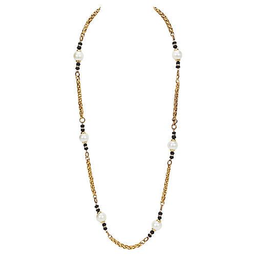 Chanel Pearl & Onyx Sautoir Necklace