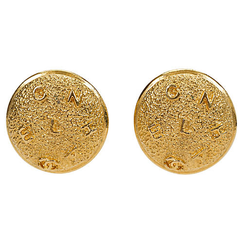 1980s Chanel Textured Logo Earrings