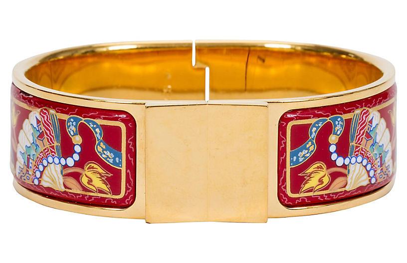 Hermès Hinged Red Enamel Cuff Bracelet